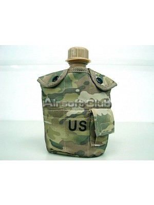1Qt Canteen Water Bottle w/Pouch & Cup Multi Camo