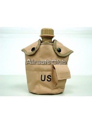 1Qt Canteen Water Bottle w/Pouch & Cup Desert Tan