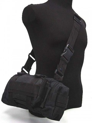 Molle Utility Shoulder Waist Pouch Bag Black
