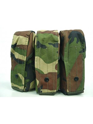 Airsoft Molle Triple AK Magazine Pouch Camo Woodland
