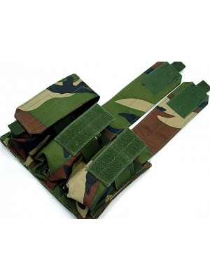 Airsoft Molle Triple Magazine Pouch Camo Woodland
