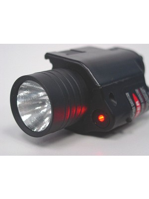 M6 6V 65Lm QD Xenon Tactical Flashlight & Red Laser Sight Black