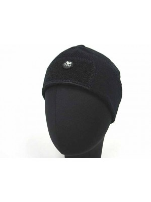 Fleece Velcro Attachment Watch Cap Hat Black