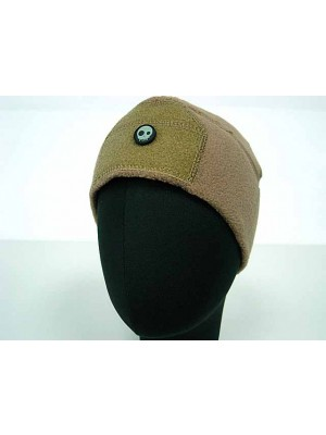 Fleece Velcro Attachment Watch Cap Hat Coyote Brown