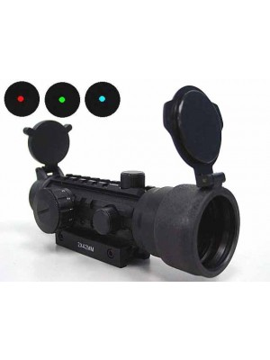2x42 42mm Tri-rail Red/Green/Blue Dot Sight Rifle Scope