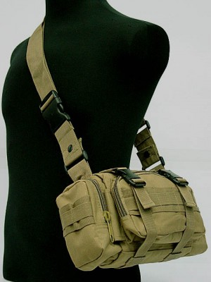 Molle Utility Shoulder Waist Pouch Bag Coyote Brown