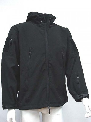 Stealth Hoodie Shark Skin Soft Shell Waterproof Jacket Black