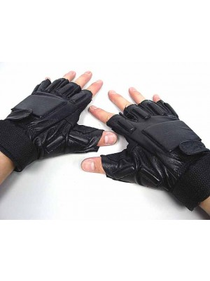 SWAT Half Finger Airsoft Supple Leather Combat Gloves