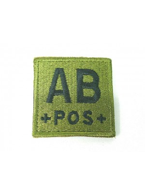 AB POS Blood Type Identification Velcro Patch Olive Drab OD