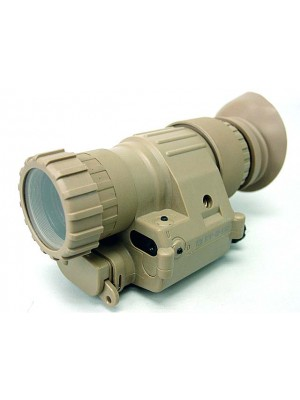 PVS-14 NVG Style 3x Magnifier Scope with Red Laser Tan