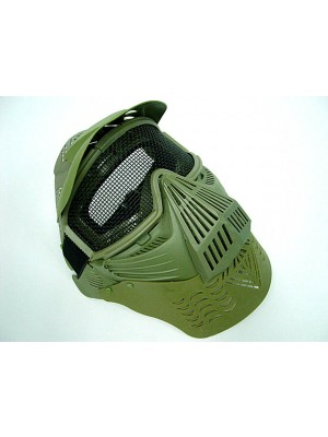 Full Face Airsoft Goggle Mesh Mask w/Neck Protect OD