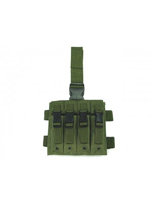 Quadruple MP5 Magazine Drop Leg Pouch OD