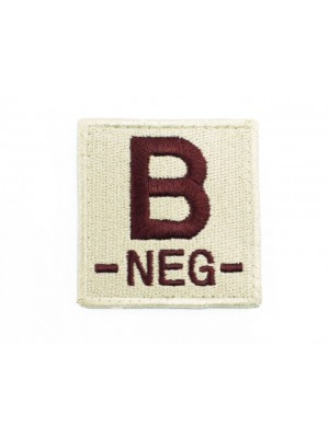 B NEG Blood Type Identification Velcro Patch Tan