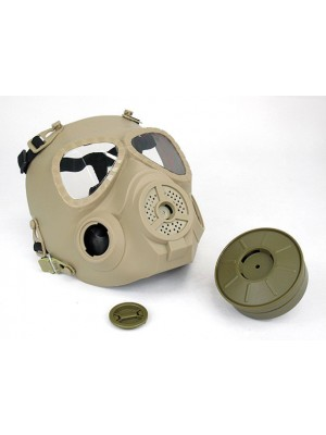 Full Face Dummy Gas Mask with Fan Ventilation Tan