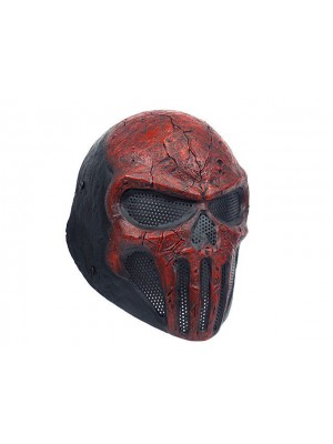 FMA Wire Mesh Skull Punisher Airsoft Fiberglass Mask Red