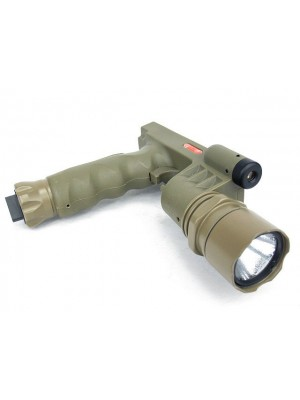 Tactical LED Weapon Light Foregrip Flashlight with Red Laser DE