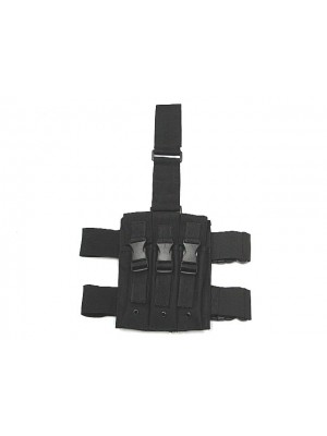 Triple MP5 Magazine Drop Leg Pouch Black