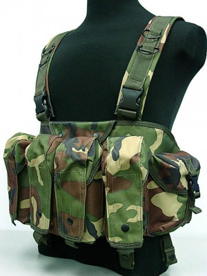 AK Magazine Chest Rig Carry Vest Camo Woodland