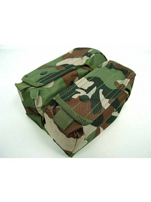 Airsoft Molle Double AK Magazine Pouch Camo Woodland