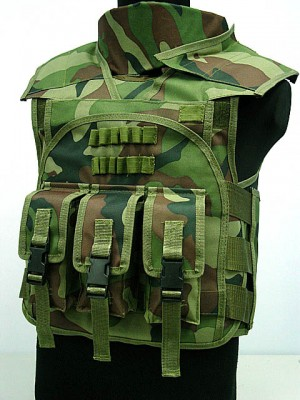 Airsoft Paintball Tactical Combat Assault Vest Camo Woodland