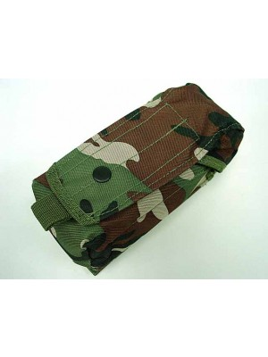 Airsoft Molle Single AK Magazine Pouch Camo Woodland